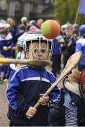 6 May 2019; Three year old Carter Lee looks on as a flash mob of hurling and camogie players young and old descended on St. Patrick's Cathedral and Dublin City Council Offices to highlight the lack of green space in Dublin 8. The flash mob was organised by Kevin's Hurling and Camogie Club to highlight their opposition to Templeogue Synge Street Gaelic Football Club's proposed redevelopment of Dolphin Park. Photo by Ray McManus/Sportsfile