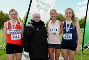 4 May 2019; Winner Catherina McKiernan of Annalee A.C, Cavan, with silver medallist Mary Mulhare of Portlaoise A.C. in Laois, left, and bronze medallist Bronagh Kearns of St. Senans A.C. in Kilkenny, right, and Athletics Ireland President Georgina Drumm after the AAI Men's National 5k Championship at the Irish Runner 5k in conjunction with the AAI National 5k Championships, Phoenix Park in Dublin. Photo by Brendan Moran/Sportsfile