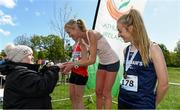 4 May 2019; Athletics Ireland President Georgina Drumm presents winner Catherina McKiernan of Annalee A.C, Cavan, with her medal after the Women's National 5k Championship at the Irish Runner 5k in conjunction with the AAI National 5k Championships, Phoenix Park in Dublin. Photo by Brendan Moran/Sportsfile