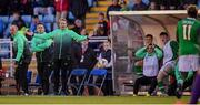 6 May 2019; Republic of Ireland head coach Colin O'Brien reacts to Festy Ebosele being sent off during the 2019 UEFA European Under-17 Championships Group A match between Republic of Ireland and Czech Republic at the Regional Sports Centre in Waterford. Photo by Stephen McCarthy/Sportsfile