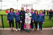 6 May 2019; Representatives from Killeshin, Co. Laois, are presented with their certifcate by LGFA Gaelic4Teens ambassadors, from left, Cliodhna O'Connor, Fiona McHale, Jackie Kinch, Sinéad Delahunty and Sharon Courtney following the 2019 Gaelic4Teens Activity Day at the GAA National Games Development Centre in Abbotstown, Dublin. Photo by Seb Daly/Sportsfile
