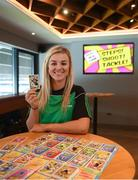 7 May 2019; Kilkenny camogie player Grace Walsh with her Cúl Heroes Trading Card during the Cúl Heroes Trading Cards 2019 Collection Launch at Croke Park in Dublin. Photo by David Fitzgerald/Sportsfile