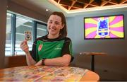 7 May 2019; Dublin ladies footballer Lyndsey Davey with her Cúl Heroes Trading Card during the Cúl Heroes Trading Cards 2019 Collection Launch at Croke Park in Dublin. Photo by David Fitzgerald/Sportsfile