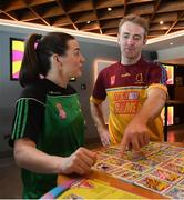 7 May 2019; Dublin ladies footballer Lyndsey Davey and Tipperary hurler Noel McGrath play the new Cúl Heroes Trading Card game 'Steps Shoot Tackle' against Monaghan footballer Rory Beggan and Kilkenny camogie player Grace Walsh during the Cúl Heroes Trading Cards 2019 Collection Launch at Croke Park in Dublin. Photo by David Fitzgerald/Sportsfile