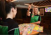 7 May 2019; Kilkenny camogie player Grace Walsh and Dublin ladies footballer Lyndsey Davey play the new Cúl Heroes Trading Card game 'Steps Shoot Tackle' during the Cúl Heroes Trading Cards 2019 Collection Launch at Croke Park in Dublin. Photo by David Fitzgerald/Sportsfile