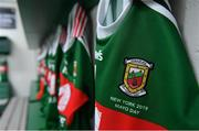 5 May 2019; Mayo jerseys in the dressing room before the Connacht GAA Football Senior Championship Quarter-Final match between New York and Mayo at Gaelic Park in New York, USA. Photo by Piaras Ó Mídheach/Sportsfile