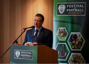 7 May 2019; International team managers Mick McCarthy and Colin Bell visited Trim Castle and the Knightsbrook Hotel today to officially launch the 2019 Football Association of Ireland AGM and Festival of Football. The Royal County will host both events for the first time at the end of July, culminating with the Association's AGM at the popular Knightsbrook hotel on Saturday, July 27th. All 38 clubs in Meath will receive visits from FAI management, former internationals and coaching staff during the week long festivities. Clubs will also benefit from financial aid and coaching assistance as Meath becomes the 13th host of the Festival of Football which launched in 2007. This year's Festival is supported by Meath County Council and the Meath Local Sports Partnership. FAI Communications Director Cathal Dervan speaking at the launch in Knightsbrook Hotel. Photo by Stephen McCarthy/Sportsfile