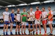 9 May 2019; Nicky Rackard Cup hurlers, from left, Fergal Rafter of Monaghan, Paddy Corcoran of Longford, Gary Cadden of Sligo, Cathal Freeman of Mayo, Robert Curley of Warwickshire, Gerard Smyth of Louth, Dermot Begley of Tyrone and Stephen Renaghan of Armagh in attendance at the official launch of Joe McDonagh, Christy Ring, Nicky Rackard and Lory Meagher Competitions at Croke Park in Dublin. Photo by Stephen McCarthy/Sportsfile