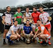9 May 2019; Nicky Rackard Cup hurlers, from left, Gary Cadden of Sligo, Fergal Rafter of Monaghan, front left, Cathal Freeman of Mayo, Robert Curley of Warwickshire, Paddy Corcoran  of Longford, front centre, Gerard Smyth of Louth, Stephen Renaghan of Armagh, front right, and Dermot Begley of Tyrone in attendance at the official launch of Joe McDonagh, Christy Ring, Nicky Rackard and Lory Meagher Competitions at Croke Park in Dublin. Photo by Stephen McCarthy/Sportsfile