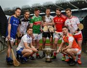 9 May 2019; Nicky Rackard Cup hurlers, from left, Paddy Corcoran of Longford, Gary Cadden of Sligo, Fergal Rafter of Monaghan, front, Cathal Freeman of Mayo, Robert Curley of Warwickshire, Gerard Smyth of Louth, Stephen Renaghan of Armagh, front, and Dermot Begley of Tyrone in attendance at the official launch of Joe McDonagh, Christy Ring, Nicky Rackard and Lory Meagher Competitions at Croke Park in Dublin. Photo by Stephen McCarthy/Sportsfile
