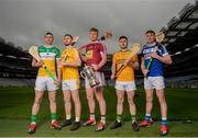 9 May 2019; Joe McDonagh Cup hurlers, from left, Pat Camon of Offaly, Conor McCann of Antrim Tommy Doyle of Westmeath, Martin Stackpoole of Kerry and Paddy Purcell of Laois in attendance at the official launch of Joe McDonagh, Christy Ring, Nicky Rackard and Lory Meagher Competitions at Croke Park in Dublin. Photo by Eóin Noonan/Sportsfile