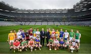 9 May 2019; Uachtaráin Cumann Lúthchleas Gael John Horan and Paul Flynn, GPA CEO, centre, in attendance with hurlers from the participating counties at the official launch of Joe McDonagh, Christy Ring, Nicky Rackard and Lory Meagher Competitions at Croke Park in Dublin. Photo by David Fitzgerald/Sportsfile