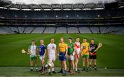 9 May 2019; Christy Ring Cup hurlers, from left, Fergal Collins  of London, Warren Kavanagh of Wicklow, Martin Fitzgerald of Kildare, Naos Connaughton  of Roscommon, Sean Geraghty  of Meath, Brian Óg McGilligan of Derry, Danny Cullen of Donegal and Stephen Keith of Down at the official launch of Joe McDonagh, Christy Ring, Nicky Rackard and Lory Meagher Competitions at Croke Park in Dublin. Photo by David Fitzgerald/Sportsfile