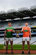 9 May 2019; Cathal Freeman of Mayo and Stephen Renaghan of Armagh who will compete in the Nicky Rackard Cup in attendance at the official launch of Joe McDonagh, Christy Ring, Nicky Rackard and Lory Meagher Competitions at Croke Park in Dublin. Photo by Stephen McCarthy/Sportsfile