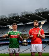 9 May 2019; Cathal Freeman of Mayo and Gerard Smyth of Louth who will compete in the Nicky Rackard Cup in attendance at the official launch of Joe McDonagh, Christy Ring, Nicky Rackard and Lory Meagher Competitions at Croke Park in Dublin. Photo by Stephen McCarthy/Sportsfile