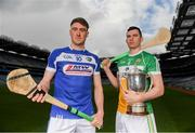 9 May 2019; Joe McDonagh Cup hurlers Paddy Purcell of Laois and Pat Camon of Offaly in attendance at the official launch of Joe McDonagh, Christy Ring, Nicky Rackard and Lory Meagher Competitions at Croke Park in Dublin. Photo by Eóin Noonan/Sportsfile