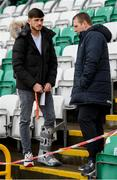 9 May 2019; Injured Republic of Ireland player Troy Parrott speaks with Republic of Ireland U19 head coach Tom Mohan prior to the 2019 UEFA European Under-17 Championships Group A match between Belgium and Republic of Ireland at Tallaght Stadium in Dublin. Photo by Stephen McCarthy/Sportsfile
