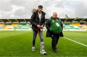 9 May 2019; Injured Republic of Ireland player Troy Parrott with media officer Gareth Maher prior to the 2019 UEFA European Under-17 Championships Group A match between Belgium and Republic of Ireland at Tallaght Stadium in Dublin. Photo by Stephen McCarthy/Sportsfile