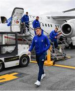 9 May 2019; Garry Ringrose of Leinster arrives at Newcastle International Airport in Newcastle, England, ahead of the Heineken Champions Cup Final at St. James's Park. Photo by Ramsey Cardy/Sportsfile