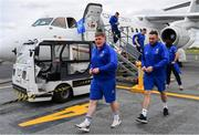 9 May 2019; Tadhg Furlong, left, and Jack Conan of Leinster arrive at Newcastle International Airport in Newcastle, England, ahead of the Heineken Champions Cup Final at St. James's Park. Photo by Ramsey Cardy/Sportsfile