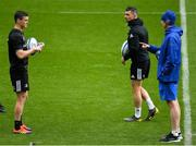 10 May 2019; Jonathan Sexton, left, Rob Kearney and head coach Leo Cullen during the Leinster team captain's run at St James' Park in Newcastle Upon Tyne, England.  Photo by Brendan Moran/Sportsfile
