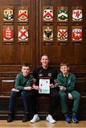 10 May 2019; Rob Cornwall of Bohemians with Kaylem O'Reilly, left, and Cian Fuller during the Bohemians FC, More Than A Club, certificate presentation to pupils from St Catherines Senior School, Cabra, St Gabriels NS, Arbour Hill, and St Finbarr's BNS, Cabra, St Laurence O'Toole's, Seville Place, at the Mansion House in Dublin. Photo by Stephen McCarthy/Sportsfile