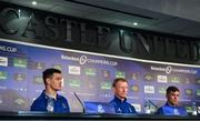 10 May 2019; Jonathan Sexton, left, alongside head coach Leo Cullen and Luke McGrath, during a Leinster press conference at St James' Park in Newcastle Upon Tyne, England.  Photo by Brendan Moran/Sportsfile