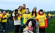 11 May 2019; Thousands of people across 202 locations worldwide walked together in hope against suicide at this year's Darkness Into Light, proudly supported by Electric Ireland, raising vital funds to ensure Pieta can continue to provide critical support in the fight against suicide. Jaccqueline, Erica, Des, Rurh, Callum, Ella, and their dog Coco, from the Cherry Orchard Running Club, at the Darkness Into Light event in the Phoenix Park in Dublin. Photo by Ray McManus/Sportsfile