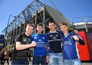 11 May 2019; Leinster supporters, from left, Tadhg Collins, Glen Dudley, Conor Persil and John Ridgeway prior to the Heineken Champions Cup Final match between Leinster and Saracens at St James' Park in Newcastle Upon Tyne, England. Photo by David Fitzgerald/Sportsfile