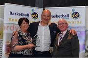 11 May 2019; Hall of Fame Award winner Liam McHale is presented with his award by Theresa Walsh, President of Basketball Ireland, and Fran Ryan, Chairperson of the Board of Basketball Ireland, during the Basketball Ireland 2018/19 Annual Awards and Hall of Fame at the Cusack Suite, Croke Park in Dublin. Photo by Piaras Ó Mídheach/Sportsfile