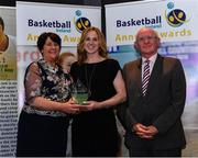 11 May 2019; Hall of Fame Award winner Susan Moran is presented with her award by Theresa Walsh, President of Basketball Ireland, and Fran Ryan, Chairperson of the Board of Basketball Ireland, during the Basketball Ireland 2018/19 Annual Awards and Hall of Fame at the Cusack Suite, Croke Park in Dublin. Photo by Piaras Ó Mídheach/Sportsfile