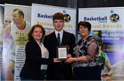 11 May 2019; Male U16 Schools Player of the Year Award winner Brian Gaffney from St Joseph's The Bish, Co Galway, is presented with his award by Lorna Finnegan, PPSC, left, and Theresa Walsh, President of Basketball Ireland, during the Basketball Ireland 2018/19 Annual Awards and Hall of Fame at the Cusack Suite, Croke Park in Dublin. Photo by Piaras Ó Mídheach/Sportsfile