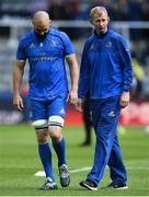 11 May 2019; Leinster head coach Leo Cullen with Scott Fardy prior to the Heineken Champions Cup Final match between Leinster and Saracens at St James' Park in Newcastle Upon Tyne, England. Photo by David Fitzgerald/Sportsfile