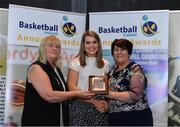 11 May 2019; Women's D1 Player of the Year award winner Claire Rockall of Maree is presented with her award by Breda Dick WNLC, left, and Theresa Walsh, President of Basketball Ireland, during the Basketball Ireland 2018/19 Annual Awards and Hall of Fame at the Cusack Suite, Croke Park in Dublin. Photo by Piaras Ó Mídheach/Sportsfile