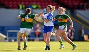 11 May 2019; Eimear Fennell of Waterford in action against Ciara O'Brien, left, and Laoise Coughlan of Kerry during the TG4  Munster Ladies Football Senior Championship match between Kerry and Waterford at Cusack Park in Ennis, Clare. Photo by Sam Barnes/Sportsfile