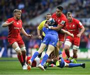 11 May 2019; Ben Spencer of Saracens is tackled by Cian Healy, right, and Garry Ringrose of Leinster during the Heineken Champions Cup Final match between Leinster and Saracens at St James' Park in Newcastle Upon Tyne, England. Photo by David Fitzgerald/Sportsfile
