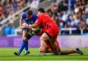 11 May 2019; Tadhg Furlong of Leinster is tackled by Titi Lamositele of Saracens during the Heineken Champions Cup Final match between Leinster and Saracens at St James' Park in Newcastle Upon Tyne, England. Photo by Ramsey Cardy/Sportsfile