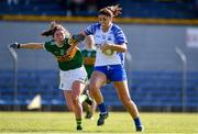 11 May 2019; Michelle Ryan of Waterford in action against Eilis Lynch of Kerry during the TG4  Munster Ladies Football Senior Championship match between Kerry and Waterford at Cusack Park in Ennis, Clare. Photo by Sam Barnes/Sportsfile