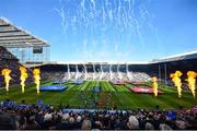 11 May 2019; The teams run out prior to the Heineken Champions Cup Final match between Leinster and Saracens at St James' Park in Newcastle Upon Tyne, England. Photo by David Fitzgerald/Sportsfile