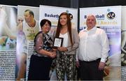 11 May 2019; Colleges Division 3 Female Player of the Year Award winner Claire Melia of TU Dublin Blanchardstown is presented with her award by Theresa Walsh, President of Basketball Ireland and Patrick O'Neill, chair of the NBCC, during the Basketball Ireland 2018/19 Annual Awards and Hall of Fame at the Cusack Suite, Croke Park in Dublin. Photo by Piaras Ó Mídheach/Sportsfile