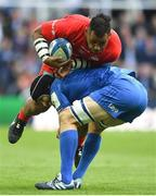 11 May 2019; Billy Vunipola of Saracens is tackled by Scott Fardy of Leinster during the Heineken Champions Cup Final match between Leinster and Saracens at St James' Park in Newcastle Upon Tyne, England. Photo by David Fitzgerald/Sportsfile