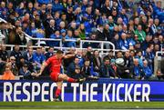 11 May 2019; Owen Farrell of Saracens kicks a conversion watched by Leinster fans during the Heineken Champions Cup Final match between Leinster and Saracens at St James' Park in Newcastle Upon Tyne, England. Photo by Brendan Moran/Sportsfile