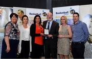 11 May 2019; Underage Female Coach winners Letterkenny Blaze Coaches, Lorna Reynolds, Rita Brady, Pat Price, Lynda McGuinness and Jay McManamin accept their award from Theresa Walsh, President of Basketball Ireland, during the Basketball Ireland 2018/19 Annual Awards and Hall of Fame at the Cusack Suite, Croke Park in Dublin. Photo by Piaras Ó Mídheach/Sportsfile