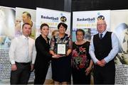11 May 2019; Area Boards NABC Club of the Year Award winners Mulroy Hoops, Donegal represented by Una Sweeney, Bernie Gallagher, Fergal Coll, Brian McGarvey and Mark McGarvey, are presented with the award by Theresa Walsh, President of Basketball Ireland, during the Basketball Ireland 2018/19 Annual Awards and Hall of Fame at the Cusack Suite, Croke Park in Dublin. Photo by Piaras Ó Mídheach/Sportsfile