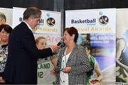 11 May 2019; Madeline Byrne is interviewed by MC John Irwin after collecting the Presidents Lifetime Achievement Award on behalf of her late husband Joe Byrne during the Basketball Ireland 2018/19 Annual Awards and Hall of Fame at the Cusack Suite, Croke Park in Dublin. Photo by Piaras Ó Mídheach/Sportsfile