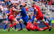 11 May 2019; Jack Conan of Leinster is tackled by Owen Farrell of Saracens during the Heineken Champions Cup Final match between Leinster and Saracens at St James' Park in Newcastle Upon Tyne, England. Photo by Ramsey Cardy/Sportsfile