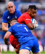 11 May 2019; Billy Vunipola of Saracens is tackled by Devin Toner, left, and Cian Healy of Leinster during the Heineken Champions Cup Final match between Leinster and Saracens at St James' Park in Newcastle Upon Tyne, England. Photo by Ramsey Cardy/Sportsfile