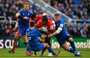 11 May 2019; Maro Itoje of Saracens is tackled by Jonathan Sexton and Tadhg Furlong of Leinster during the Heineken Champions Cup Final match between Leinster and Saracens at St James' Park in Newcastle Upon Tyne, England. Photo by Brendan Moran/Sportsfile