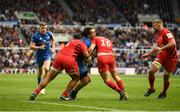 11 May 2019; James Lowe of Leinster is tackled by Billy Vunipola, left, and Owen Farrell of Saracens during the Heineken Champions Cup Final match between Leinster and Saracens at St James' Park in Newcastle Upon Tyne, England. Photo by David Fitzgerald/Sportsfile