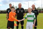 11 May 2019; St Kevin's Boys captain Sean Moore and Shamrock Rovers captain James Roche ahead of the U12 SFAI Cup Final 2019 match between Shamrock Rovers and St Kevin's Boys at Oscar Traynor Centre in Dublin. Photo by Michael P. Ryan/Sportsfile